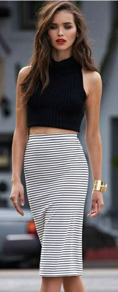 love the skirt. Apparently crop tops are in for spring. Not for me....maybe a top that just touches the skirt