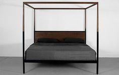 grey wood four post bed - Google Search