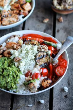 30 Minute California Chicken, Veggie, Avocado and Rice Bowls | halfbakedharvest.com: Yum! #Salad #Chicken #Avocado #Rice #Healthy #Fast