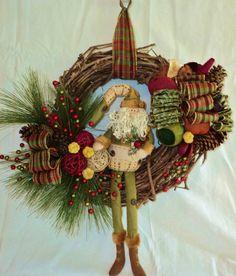 Santa Grapevine Wreath