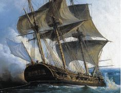 Canvas print An century French frigate, very similar to the Hermione, in combat with the British. Painting by Gilbert Pierre Julien. Hermione, Nautical Painting, Nautical Art, Old Sailing Ships, Sailing Boat, Ship Of The Line, Wooden Ship, Ship Art, Model Ships