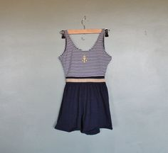 Vintage ANCHOR Bathing Suit Romper Women by bluebutterflyvintage