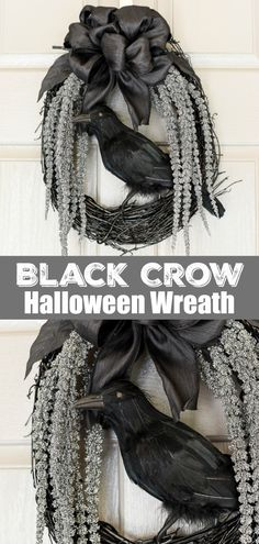 wreath DIY Black Crow Wreath - how to make an eerie Halloween wreath in a few simple steps.DIY Black Crow Wreath - how to make an eerie Halloween wreath in a few simple steps. Halloween Tags, Halloween Mono, Halloween School Treats, Fairy Halloween Costumes, Halloween Party Supplies, Outdoor Halloween, Modern Halloween, Halloween Porch, Halloween 2018