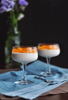 """""""Old-Fashioned"""" Panna Cotta with Bourbon, Bitters, and Tangerines. Dessert and a classic cocktail, in one!"""