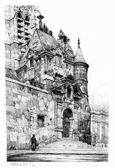 Samuel Chamberlain (1895-1975-American) - Un portail de l'Eglise de Saint Etienne du Mont, Paris - 1924