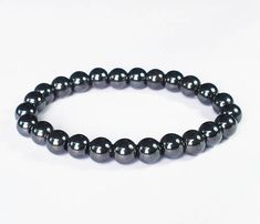 Natural Hematite Magnet Therap Health Hygienical Beads Stretchy Bracelet EG25 by AnneJewelryAcc, $2.97