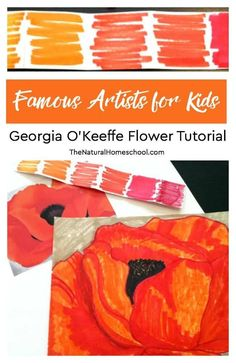 Famous Artists for Kids ~ Georgia O'Keeffe Flower Tutorial www.thenaturalhom… In this post, we are going to do another Famous Artists for Kids study by learning how to paint flowers like Georgia O'Keeffe.