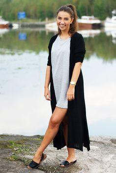 H&M T Shirt Dress, Lindex Maxi Cardigan, Dinsko Sandals, Dkny Watch