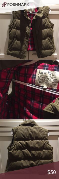 Jack Wills Army Green Flannel Lined Puffer Vest good condition, warm and cozy jack wills puffer vest, army green with soft flannel lining Jack Wills Jackets & Coats Vests