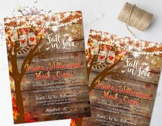 Fall oak tree with colorful autumn leaves wedding invitations that are beautiful and show a carved heart with you and your loves initials in the tree. Your autumn wedding theme is complimented by fall leaves in colors of golden yellow, reds and oranges. This rustic wedding invitation is