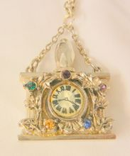 todays wonderful arrivals Rare perfume bottle chatelaine rhinestone faux clock Necklace