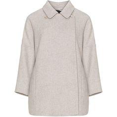 Manisa Beige Plus Size Felt wool-blend jacket ($155) ❤ liked on Polyvore featuring outerwear, jackets, beige, plus size, wool-blend jacket, plus size pink jacket, straight jacket, pink straight jacket and beige jacket
