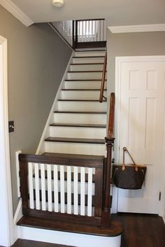 Our latest project was creating baby gates for the top and bottom of our stairs. I will preface this entire post by saying it was WAY more difficult than I had anticipated! Probably one of our most challenging DIY projects to date. There were a lot of Wood Baby Gate, Diy Dog Gate, Baby Gate For Stairs, Diy Baby Gate, Pet Gate, Top Of Stairs Gate, Pet Stairs, Staircase Gate, Stairway