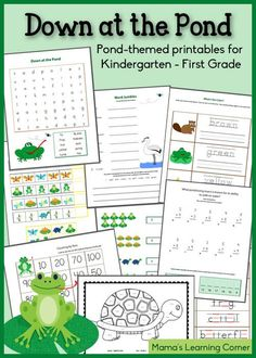 Down at the Pond - Printable Packet for Kindergarten-First Grade - Mamas Learning Corner First Grade Worksheets, Free Kindergarten Worksheets, Kindergarten Reading, Homeschool Kindergarten, Phonics Activities, Preschool Themes, Water Activities, Writing Activities, Preschool Printables