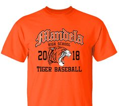 High School Impressions search BSE-008-W; 2018 Tiger High School Baseball T-Shirts- Create your own design for t-shirts, hoodies, sweatshirts. Choose your Text, Ink and Garment Colors.  Visit our other boards for other great designs!