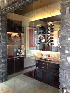 Glassed in wine room for those special tasting events - Mystic Ridge home at @StreetDreamspdx