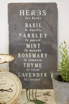Spring. It's finally here! Today I am working on some French herb signs for your farmhouse or garden. I have had these old slate roof tiles in my garage for three years now- just waiting fo…