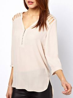 Top With Shoulder Cut Out - Fashion Clothing, Latest Street Fashion At Abaday.com
