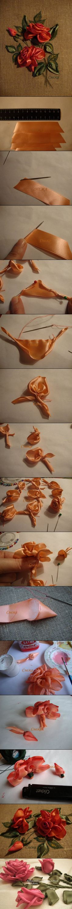 ribbon roses....all i can say is this is an AMAZING technique to create such a beautiful rose. WOW! i sure want to try it out!!...
