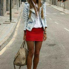 red skirt & spiker jacket