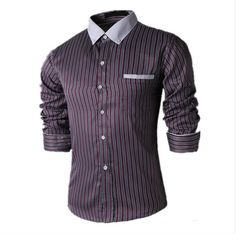 >> Click to Buy << Hot Fashion Stripe Men Shirts Long Sleeve Cotton Slim Fit French Cuff Casual Male Social Dress Shirt #Affiliate