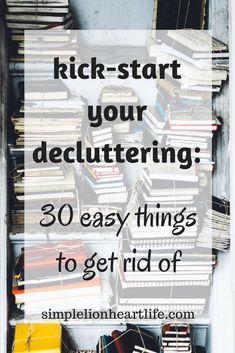 Kick-start your decluttering: 30 easy things to get rid of Decluttering is a big job, but it doesn't have to be overwhelming. Use this list of 30 easy things to get rid of to kick-start your decluttering efforts! Casa Clean, Clean House, Planners, Clutter Control, Declutter Your Life, Clutter Organization, Household Organization, Perfume, Organizing Your Home