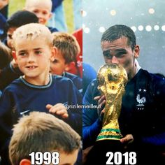 """Antoine Griezmann Edits❤ on Instagram: """"20 Years difference. I'm so proud of him. I couldn't stop saying it. I'm so proud for having him as my idol. I'm so proud to support him…"""" Fifa World Cup 2018, Pogba, Miss France, Russia 2018, Antoine Griezmann, Football, 20 Years, My Idol, Mens Sunglasses"""