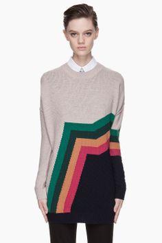 Beige Colorblocked Aztec Stripe Merino Sweater