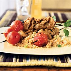 Spice-Rubbed Pork Skewers with Tomatoes - 41 Top-Rated Grill Recipes - Cooking Light