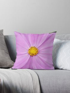 """""""Winter Cosmos Flower in Pink Throw Pillows by ellenhenry Diy Pillows, Floor Pillows, Throw Pillows, Floral Cushions, Flower Oil, Carnations, Hibiscus, Cosmos, Stencil"""