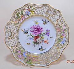 """Meissen Porcelain Reticulated 10"""" Plate Floral Birds Design late 1800's # 5"""