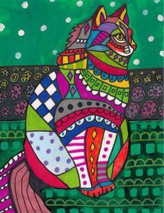 Persian Cat Art Folk Art Modern Print Poster Painting Contemporary Abstract Cats