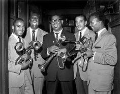 Joe Gordon, E.V. Perry, Dizzy Gillespie, Carl Warwick & Quincy Jones, NYC, New York, 1955  © HERMAN LEONARD, 1955