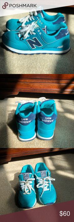 574 New Balance sneakers Teal & dark blue Colorway. Worn once (NO BOX) ready to wear New Balance Shoes Sneakers