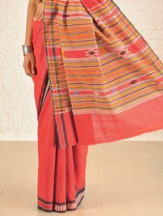 Red Bomkai Cotton Saree