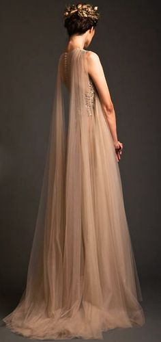 Gwen Inspo- Krikor Jabotian Couture S/S 2014 - Princess, fantasy bride with the stunning shoulder detail of floor length gathered tulle. Beautiful, romantic and ethereal! Evening Dresses, Prom Dresses, Formal Dresses, Wedding Dresses, Dresses 2016, Mode Inspiration, Beautiful Gowns, Elie Saab, Dream Dress