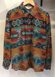 Vintage Aztec Men's Flannel Button Down Shirt