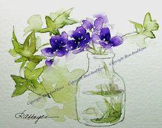 Purple Wildflowers in Glass Jar Watercolor Painting Print Flowers Floral Garden Bouquet