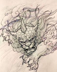 💬 Artwork by: David Hoang Location: Toronto ON, Canada Artist's IG: Japanese Tattoo Art, Japanese Tattoo Designs, Japanese Art, Japanese Dragon, Irezumi Tattoos, Tattoo Sketches, Tattoo Drawings, Foo Dog Tattoo Design, Fu Dog