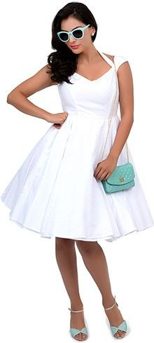 Hell Bunny 1950s Style White Swiss Dotted Halter Eveline Swing Dress