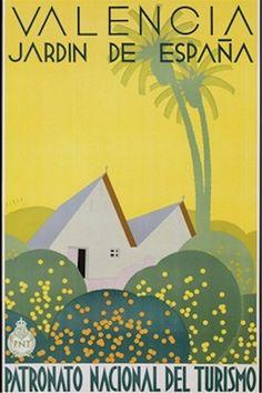 20X30 Art Deco Travel poster Valencia Jardn de Espana