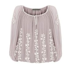 Mink embroidered blouson top