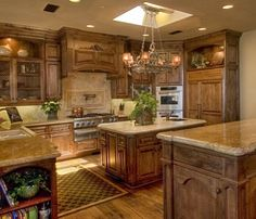 Rustic Kitchen The Knotty Alder Cabinets And Natural Stone Floor Makes This A Beautiful Warm