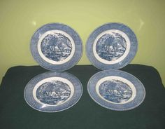 """4 Royal China Currier And Ives Blue 10"""" Dinner Plates -The Old Grist Mill,All Marked by Incredibletreasures on Etsy"""