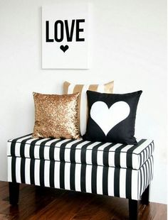 Entryway bench , black white & gold decor