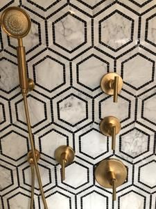 Black Marble Bathroom, Marble Tiles, Marble Bathrooms, Black And White Bathroom Floor, Black White Bathrooms, Honed Marble, Black Marble Countertops, Brass Bathroom Fixtures, Porcelain Countertops