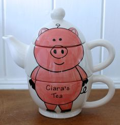 Hand Painted Personalised Ceramic any Animal pet Tea for One teapot and cup set