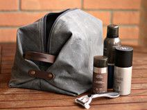 Beauty case in waxed canvas - pochette in canvas