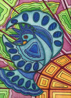 Bluebird in the Glass by Suzanne Berton is a stylized colored drawing on watercolour paper
