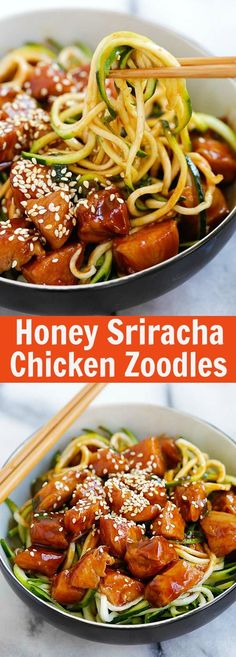 Honey Sriracha Chicken Zucchini Noodles – healthy zoodles with sweet and spicy honey sriracha chicken. So good you want this every day |  http://rasamalaysia.com